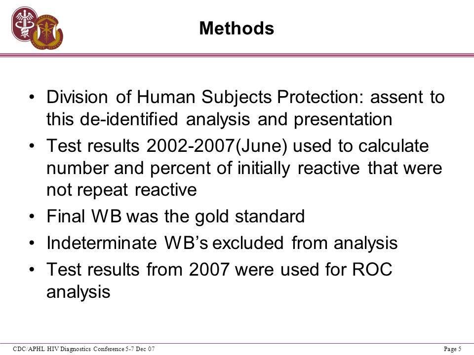 CDC/APHL HIV Diagnostics Conference 5-7 Dec 07Page 5 Methods Division of Human Subjects Protection: assent to this de-identified analysis and presenta