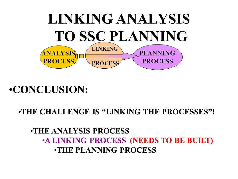 LINKING ANALYSIS TO SSC PLANNING CONCLUSION: THE CHALLENGE IS LINKING THE PROCESSES.