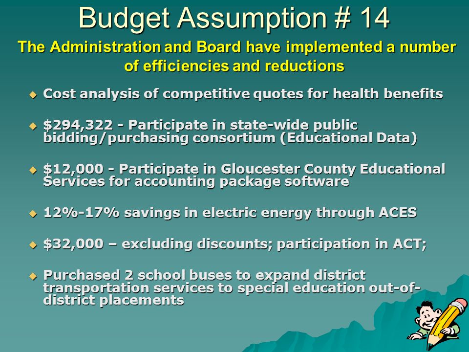 Budget Assumption # 14 The Administration and Board have implemented a number of efficiencies and reductions Cost analysis of competitive quotes for health benefits Cost analysis of competitive quotes for health benefits $294,322 - Participate in state-wide public bidding/purchasing consortium (Educational Data) $294,322 - Participate in state-wide public bidding/purchasing consortium (Educational Data) $12,000 - Participate in Gloucester County Educational Services for accounting package software $12,000 - Participate in Gloucester County Educational Services for accounting package software 12%-17% savings in electric energy through ACES 12%-17% savings in electric energy through ACES $32,000 – excluding discounts; participation in ACT; $32,000 – excluding discounts; participation in ACT; Purchased 2 school buses to expand district transportation services to special education out-of- district placements Purchased 2 school buses to expand district transportation services to special education out-of- district placements