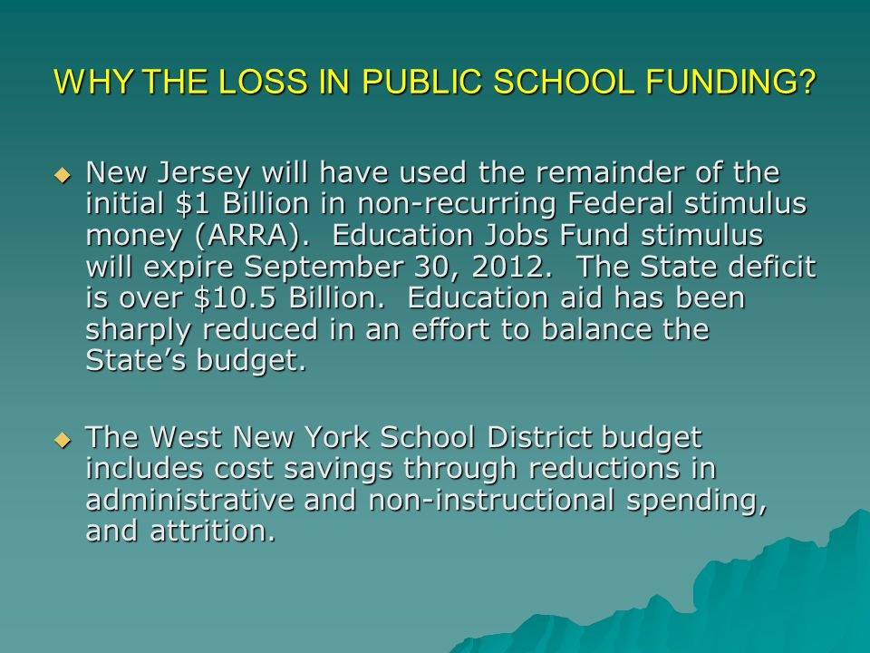 Budget Assumption # 1 * State aid decreased by 5.1% in the 2010-2011 budget year **State aid increased by 1.04% for the 2011-2012 school year Total State Aid: 2008/2009 $76,296,893 2009/2010$80,104,128 2010/2011* $75,230,500 2011/2012** $76,015,968 West New York receives 75% of its funding through State Aid.