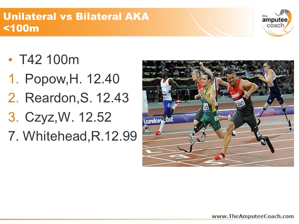 Unilateral vs Bilateral AKA <100m T42 100m 1.Popow,H.