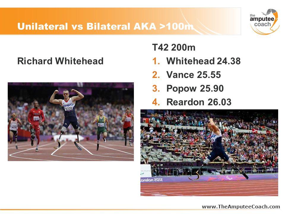 Unilateral vs Bilateral AKA >100m Richard Whitehead T42 200m 1.