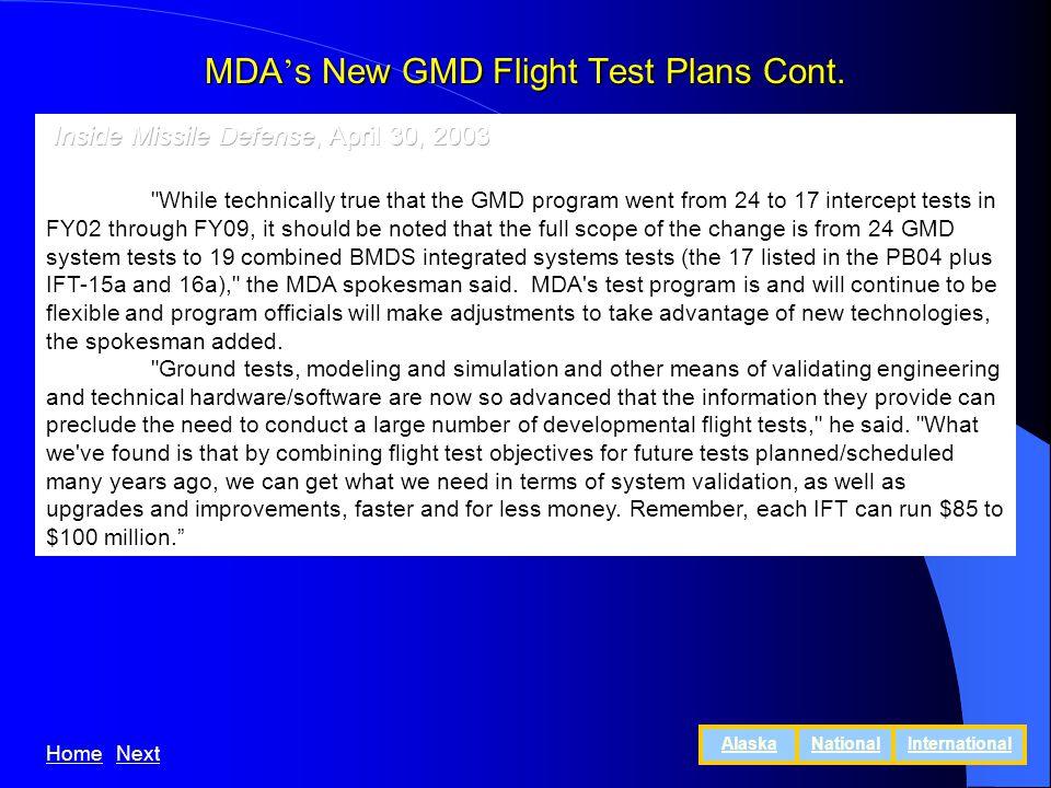 MDA s New GMD Flight Test Plans Cont. HomeNext AlaskaNationalInternational