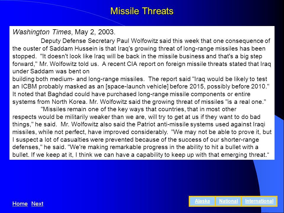 Missile Threats Washington Times, May 2, 2003.