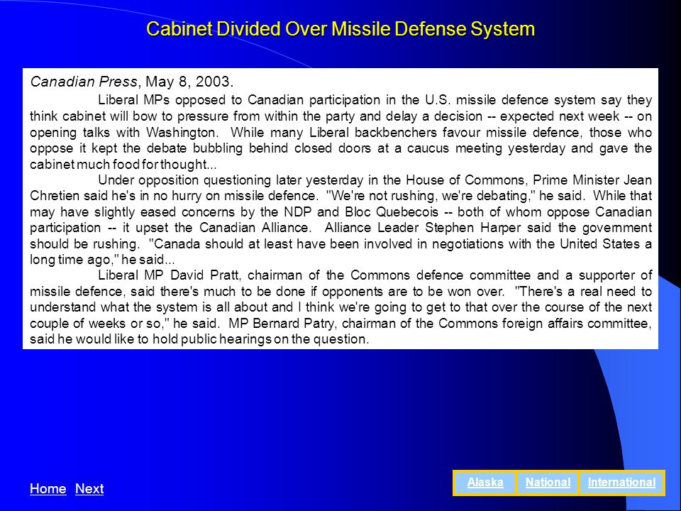 Cabinet Divided Over Missile Defense System Canadian Press, May 8, 2003.