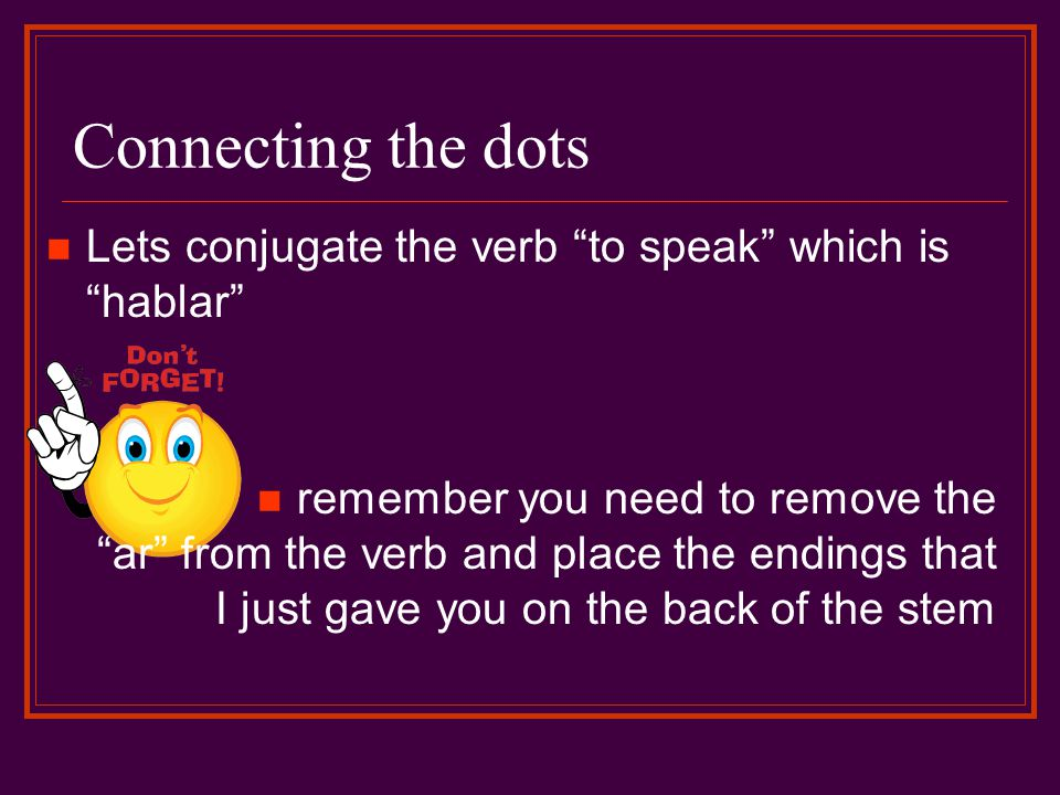 Connecting the dots Lets conjugate the verb to speak which is hablar remember you need to remove the ar from the verb and place the endings that I jus