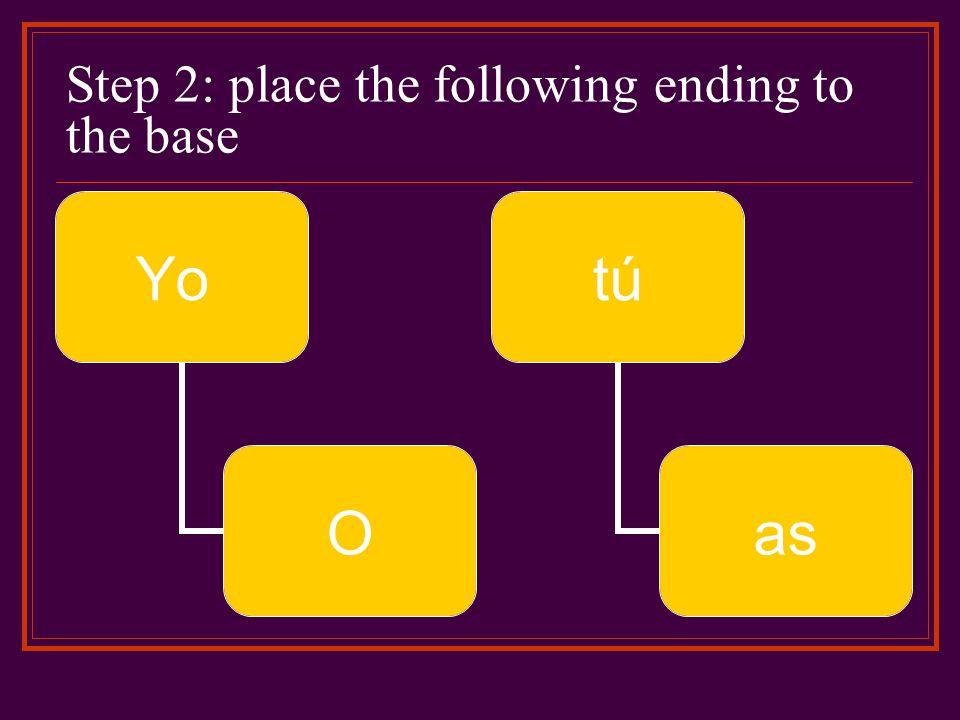 Step 2: place the following ending to the base Yo O tútú as