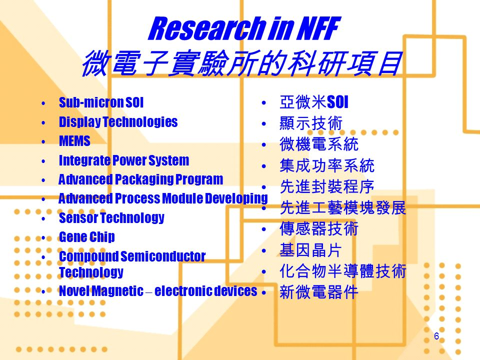 6 Research in NFF Sub-micron SOI Display Technologies MEMS Integrate Power System Advanced Packaging Program Advanced Process Module Developing Sensor Technology Gene Chip Compound Semiconductor Technology Novel Magnetic – electronic devices Sub-micron SOI Display Technologies MEMS Integrate Power System Advanced Packaging Program Advanced Process Module Developing Sensor Technology Gene Chip Compound Semiconductor Technology Novel Magnetic – electronic devices SOI