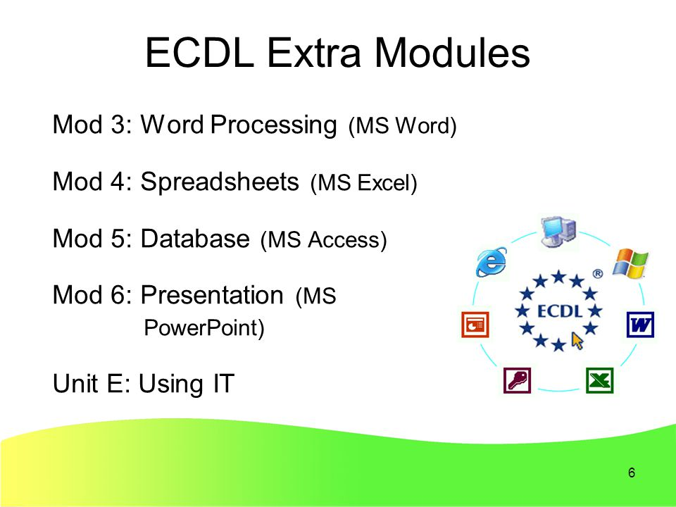 6 ECDL Extra Modules Mod 3: Word Processing (MS Word) Mod 4: Spreadsheets (MS Excel) Mod 5: Database (MS Access) Mod 6: Presentation (MS PowerPoint) Unit E: Using IT