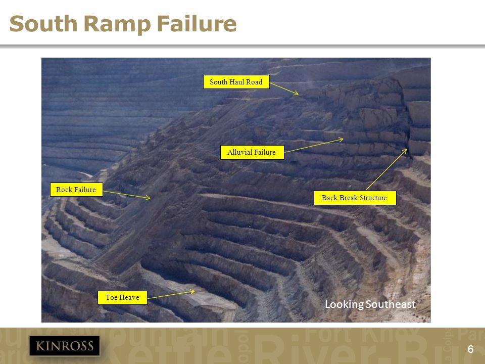 6 South Ramp Failure South Haul Road Back Break Structure Alluvial Failure Rock Failure Toe Heave Looking Southeast