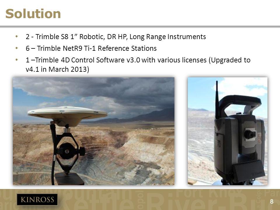 8 Solution 2 - Trimble S8 1 Robotic, DR HP, Long Range Instruments 6 – Trimble NetR9 Ti-1 Reference Stations 1 –Trimble 4D Control Software v3.0 with