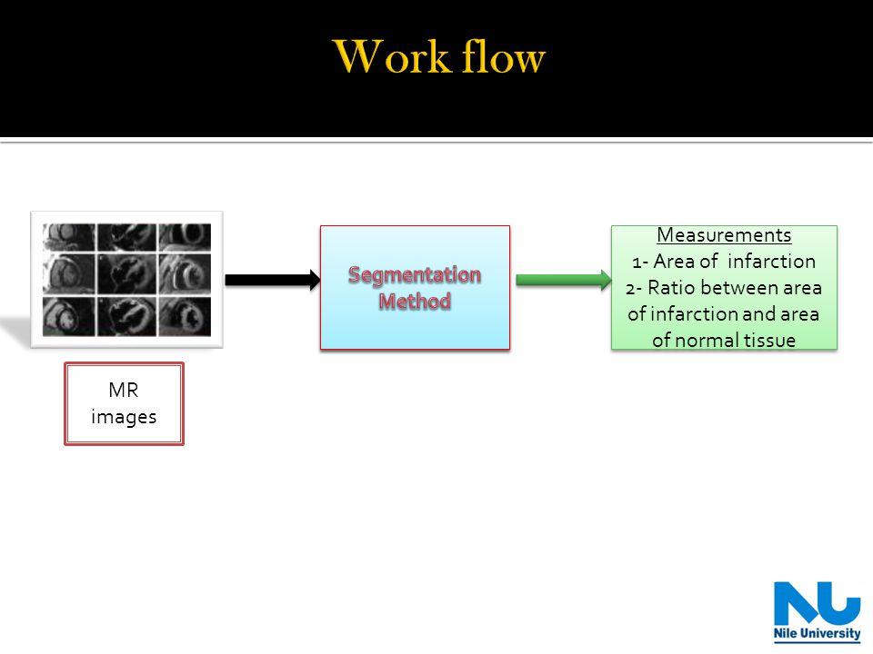 MR images Measurements 1- Area of infarction 2- Ratio between area of infarction and area of normal tissue Measurements 1- Area of infarction 2- Ratio