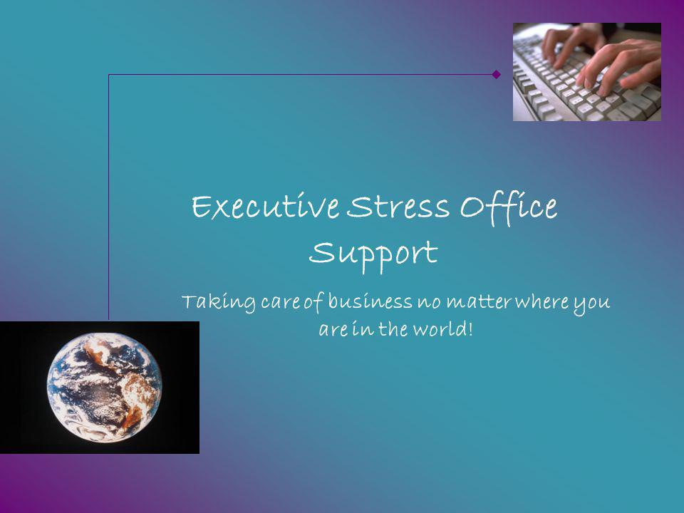 Specialist Services As one of the few (and first) VAs to provide web-based conferencing for the industry we are well placed to help clients run their own training, sales or other web-based events in ours – or your – web-conferencing room ©2010 Executive Stress Office Support.