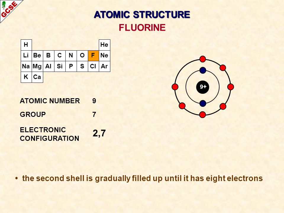 H Li Na K Be Mg B Al C Si N P O S F Cl Ne Ar He Ca 9+ 2,7 ATOMIC NUMBER9 GROUP7 ELECTRONIC CONFIGURATION FLUORINE ATOMIC STRUCTURE the second shell is