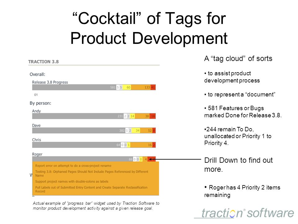 Cocktail of Tags for Product Development A tag cloud of sorts to assist product development process to represent a document 581 Features or Bugs marked Done for Release 3.8.
