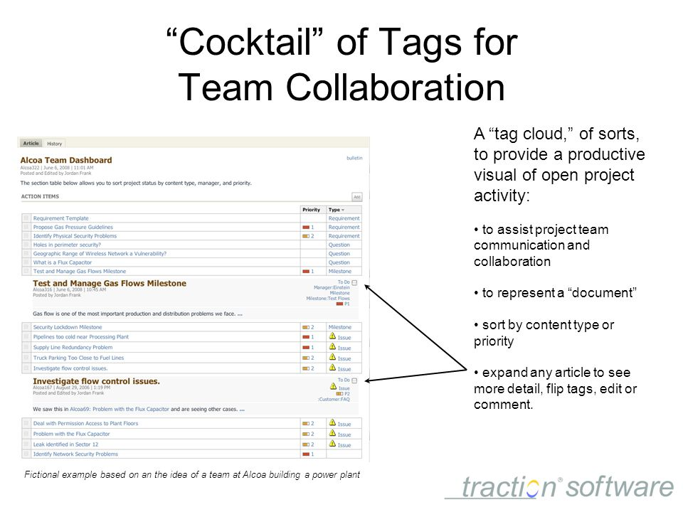 Cocktail of Tags for Team Collaboration A tag cloud, of sorts, to provide a productive visual of open project activity: to assist project team communication and collaboration to represent a document sort by content type or priority expand any article to see more detail, flip tags, edit or comment.