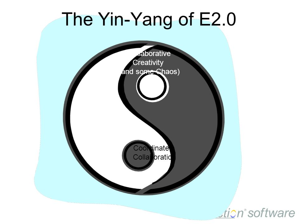 Coordinated Collaboration Collaborative Creativity (and some Chaos) The Yin-Yang of E2.0