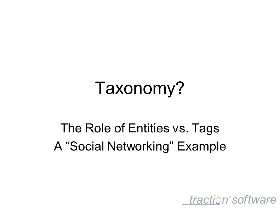 Taxonomy The Role of Entities vs. Tags A Social Networking Example