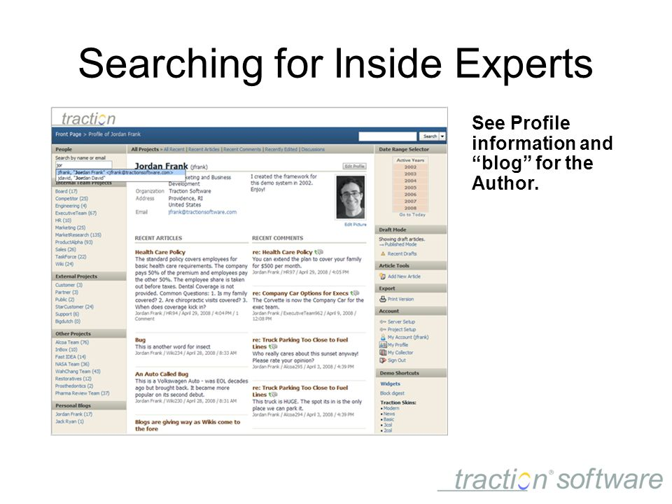 Searching for Inside Experts See Profile information and blog for the Author.