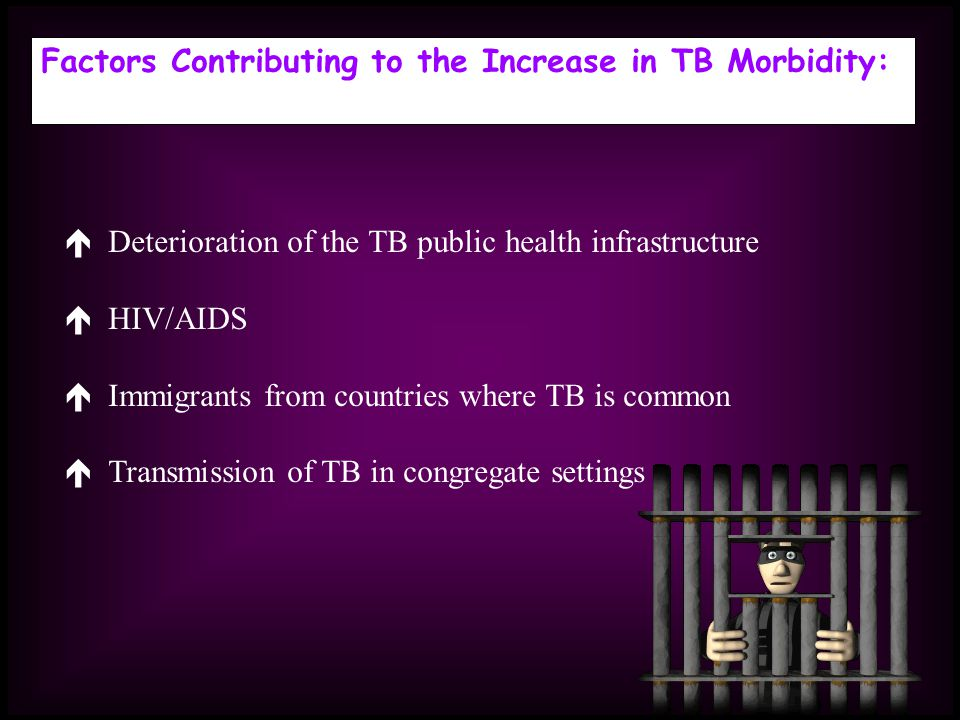 Factors Contributing to the Increase in TB Morbidity: Deterioration of the TB public health infrastructure HIV/AIDS Immigrants from countries where TB is common Transmission of TB in congregate settings
