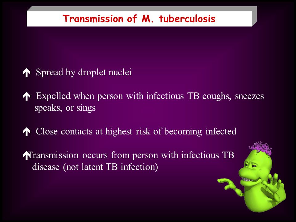 Transmission of M. tuberculosis Spread by droplet nuclei Expelled when person with infectious TB coughs, sneezes speaks, or sings Close contacts at hi