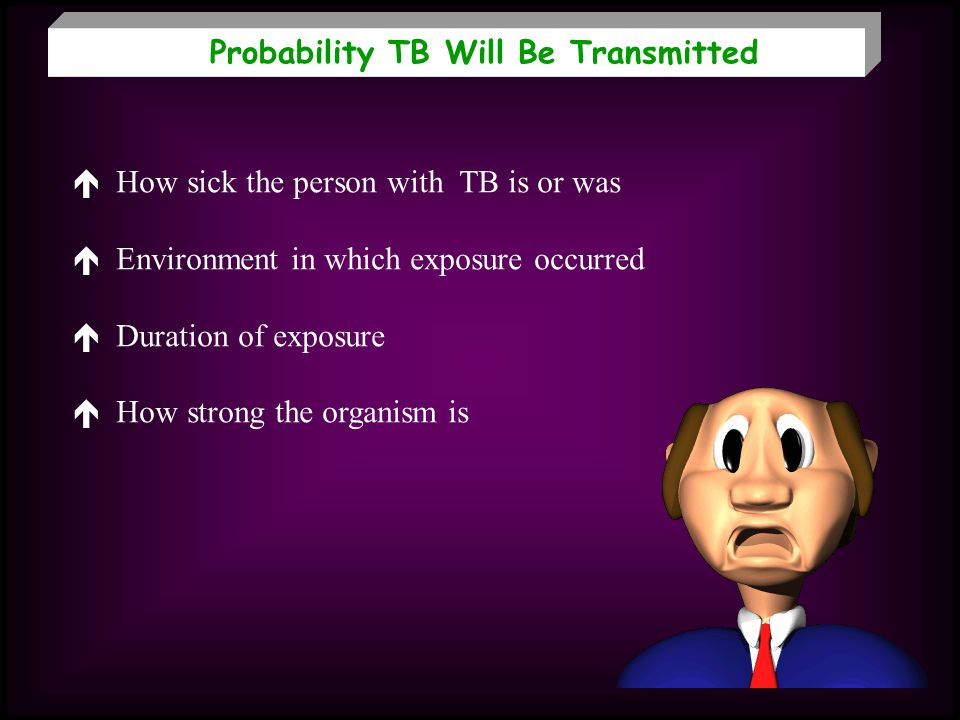 Probability TB Will Be Transmitted How sick the person with TB is or was Environment in which exposure occurred Duration of exposure How strong the or