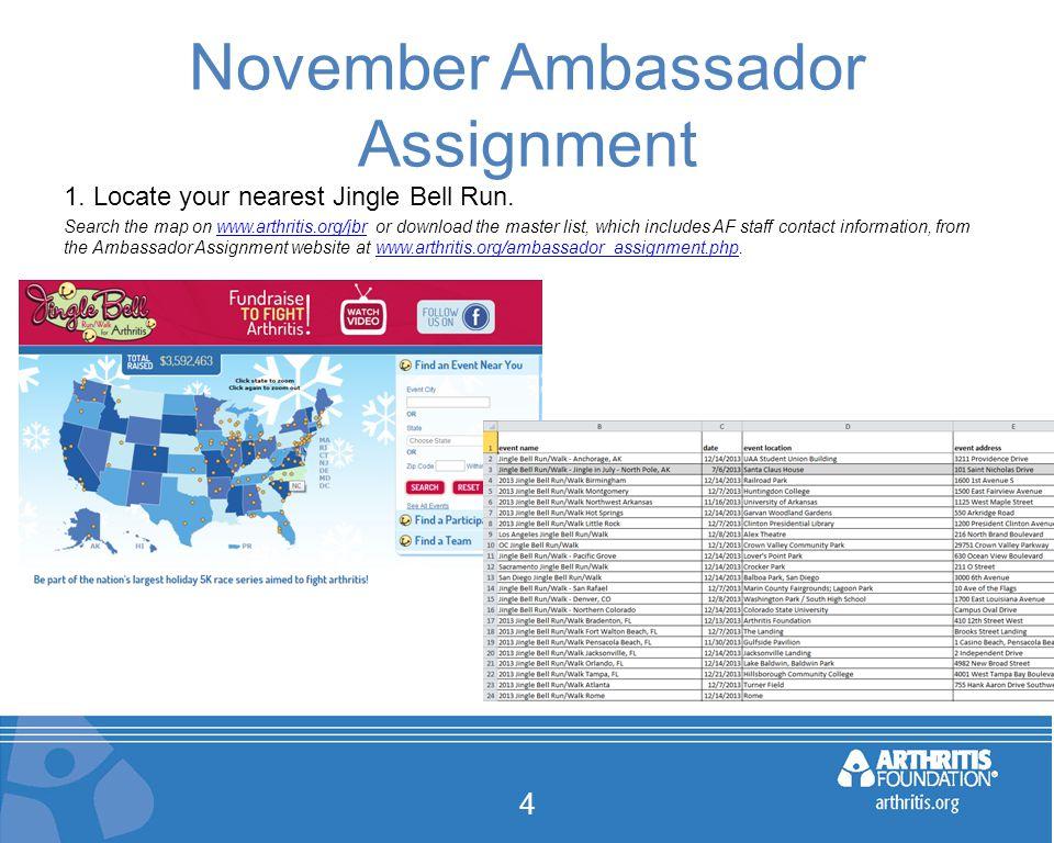 November Ambassador Assignment 4 1. Locate your nearest Jingle Bell Run.