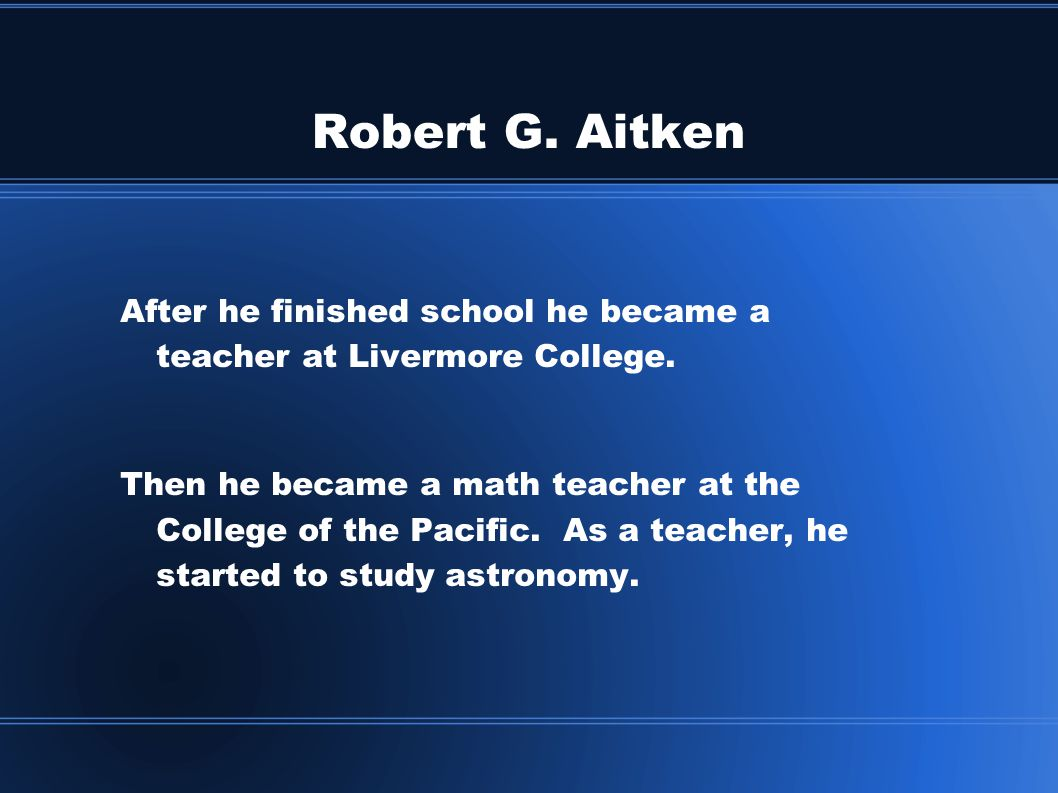 Robert G.Aitken After Mr.