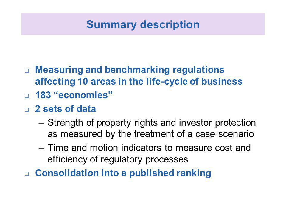 Summary description Measuring and benchmarking regulations affecting 10 areas in the life-cycle of business 183 economies 2 sets of data –Strength of property rights and investor protection as measured by the treatment of a case scenario –Time and motion indicators to measure cost and efficiency of regulatory processes Consolidation into a published ranking