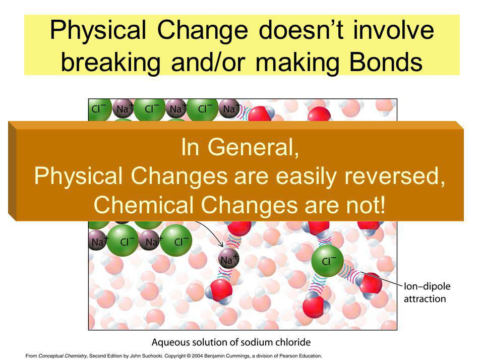 Physical Change doesnt involve breaking and/or making Bonds In General, Physical Changes are easily reversed, Chemical Changes are not!