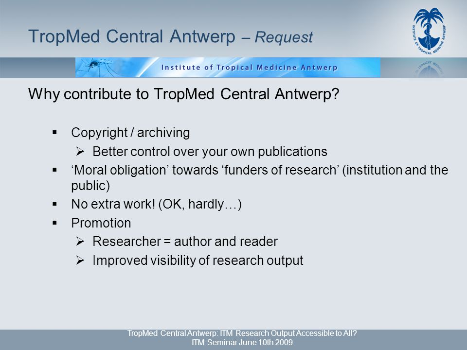 TropMed Central Antwerp: ITM Research Output Accessible to All.