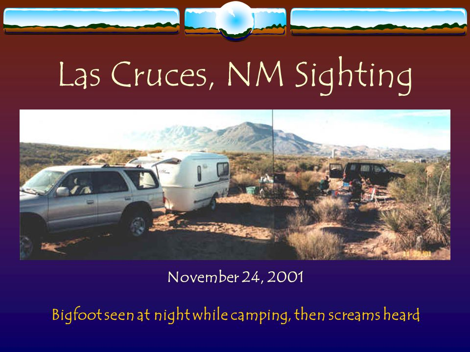 Las Cruces, NM Sighting November 24, 2001 Bigfoot seen at night while camping, then screams heard