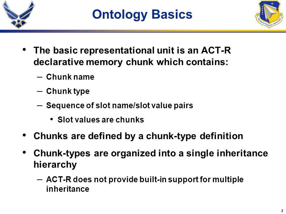 2 Ontology Basics The basic representational unit is an ACT-R declarative memory chunk which contains: – Chunk name – Chunk type – Sequence of slot na