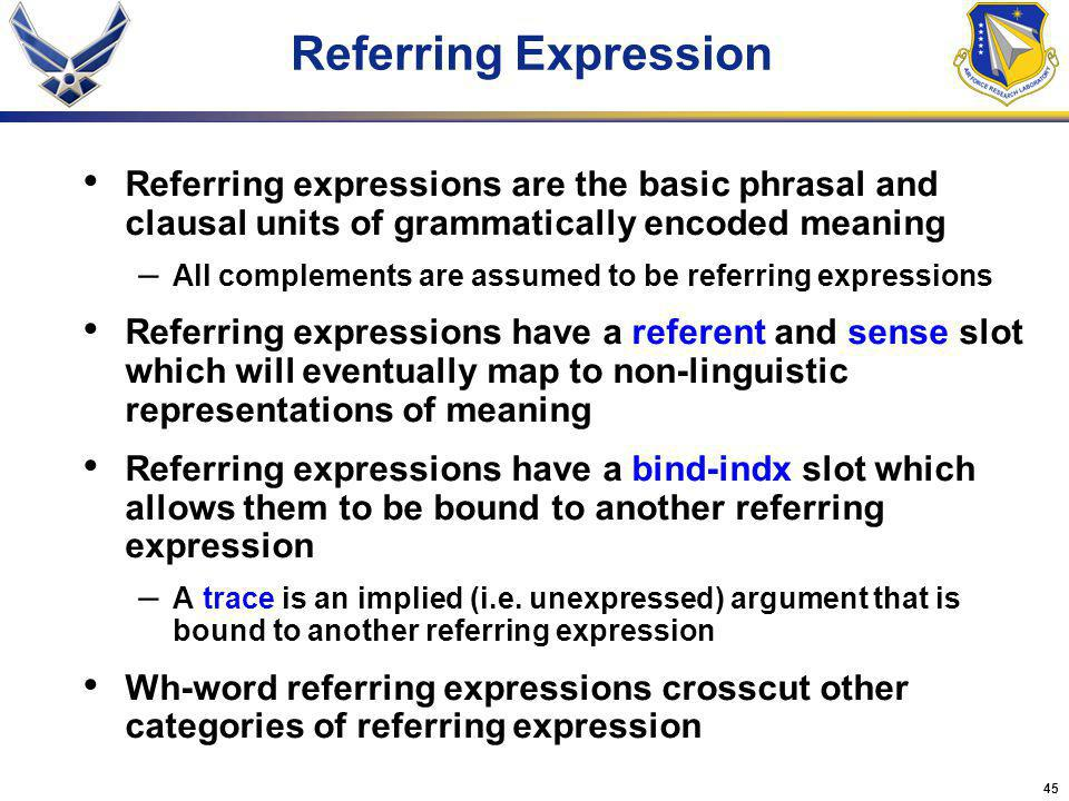 45 Referring expressions are the basic phrasal and clausal units of grammatically encoded meaning – All complements are assumed to be referring expressions Referring expressions have a referent and sense slot which will eventually map to non-linguistic representations of meaning Referring expressions have a bind-indx slot which allows them to be bound to another referring expression – A trace is an implied (i.e.