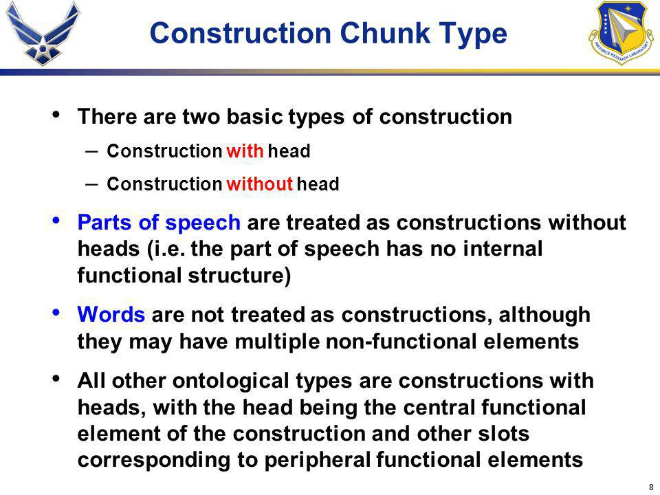 8 There are two basic types of construction – Construction with head – Construction without head Parts of speech are treated as constructions without