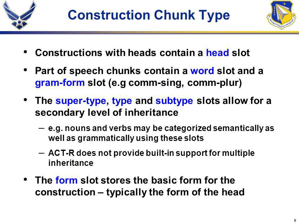 9 Constructions with heads contain a head slot Part of speech chunks contain a word slot and a gram-form slot (e.g comm-sing, comm-plur) The super-type, type and subtype slots allow for a secondary level of inheritance – e.g.