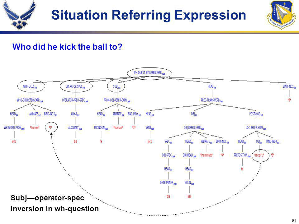 91 Situation Referring Expression Who did he kick the ball to? Subjoperator-spec inversion in wh-question