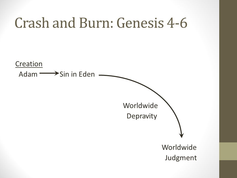 Crash and Burn: Genesis 4-6 Creation Adam Sin in Eden Worldwide Depravity Worldwide Judgment