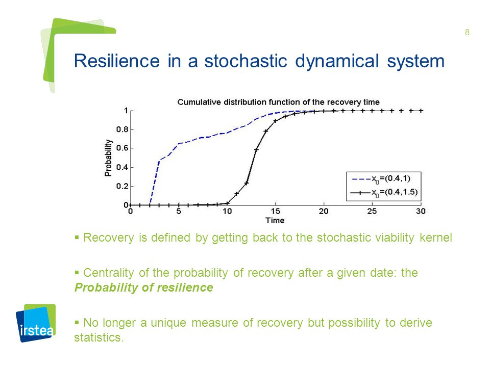 8 Resilience in a stochastic dynamical system Recovery is defined by getting back to the stochastic viability kernel Centrality of the probability of recovery after a given date: the Probability of resilience No longer a unique measure of recovery but possibility to derive statistics.