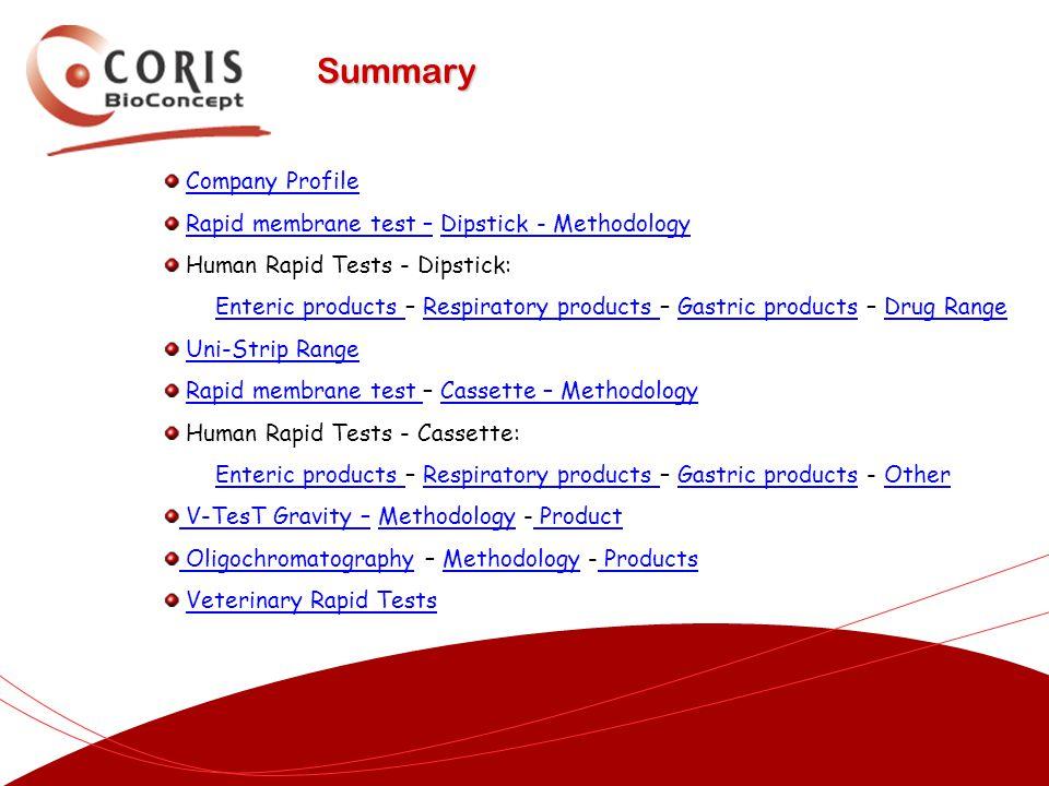 Company Profile Rapid membrane test – Dipstick - MethodologyRapid membrane test –Dipstick - Methodology Human Rapid Tests - Dipstick: Enteric products