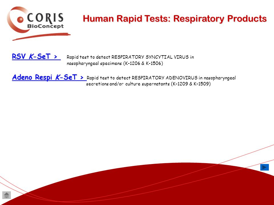 Human Rapid Tests: Respiratory Products RSV K-SeT > RSV K-SeT > RSV K-SeT > RSV K-SeT > Rapid test to detect RESPIRATORY SYNCYTIAL VIRUS in nasopharyn