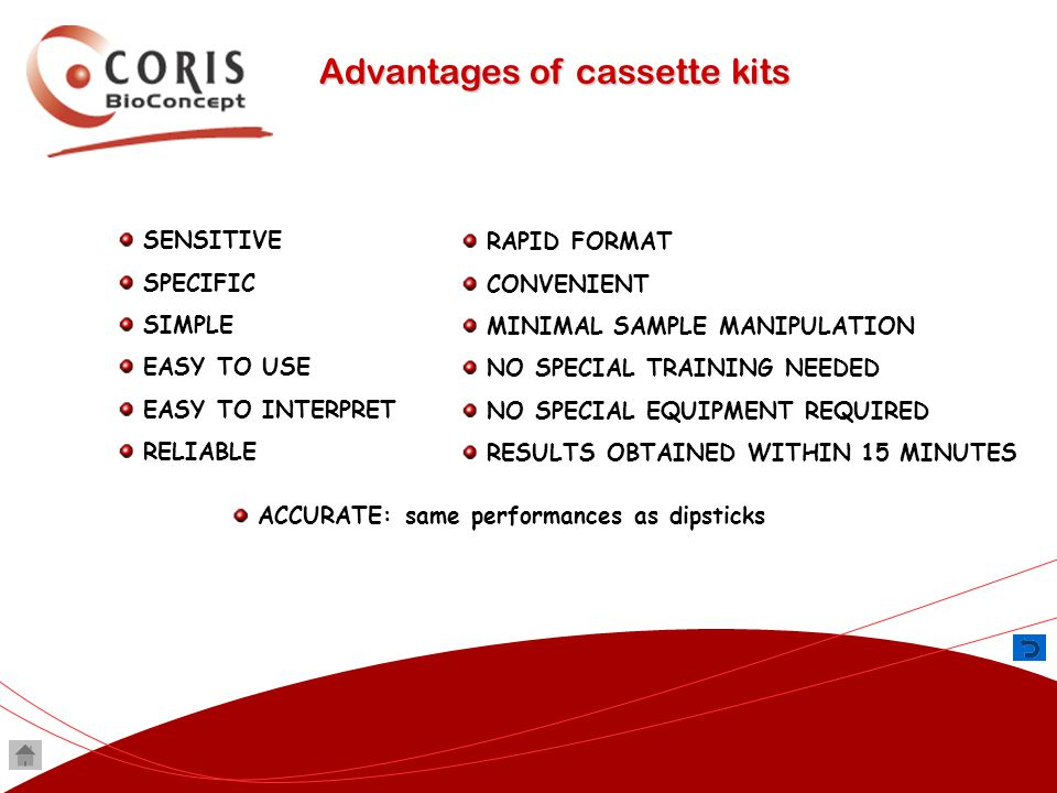 Advantages of cassette kits SENSITIVE SPECIFIC SIMPLE EASY TO USE EASY TO INTERPRET RELIABLE RAPID FORMAT CONVENIENT MINIMAL SAMPLE MANIPULATION NO SP