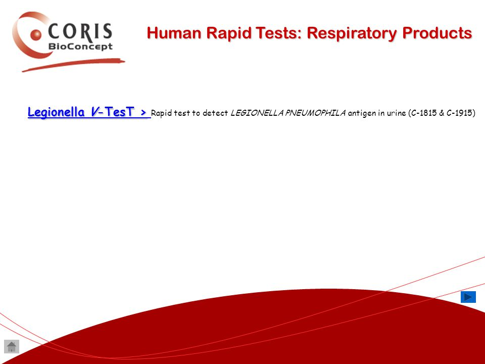 Human Rapid Tests: Respiratory Products Legionella V-TesT > Legionella V-TesT > Legionella V-TesT > Legionella V-TesT > Rapid test to detect LEGIONELL