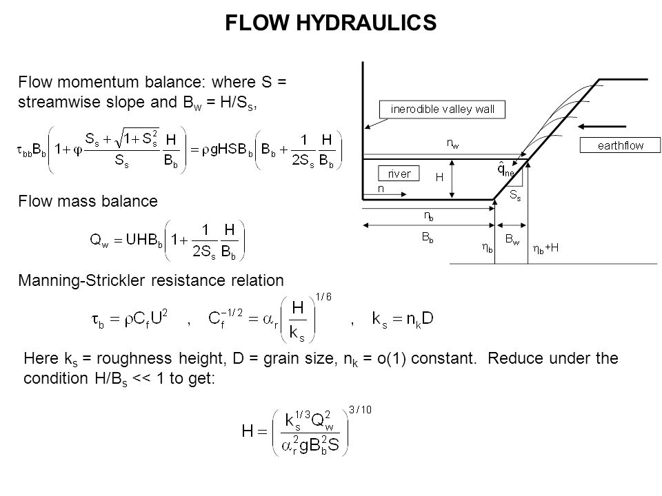 FLOW HYDRAULICS Flow momentum balance: where S = streamwise slope and B w = H/S s, Flow mass balance Manning-Strickler resistance relation Here k s = roughness height, D = grain size, n k = o(1) constant.