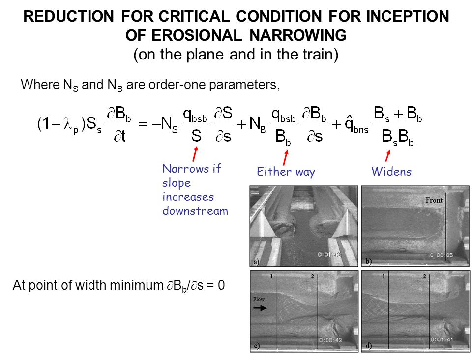 REDUCTION FOR CRITICAL CONDITION FOR INCEPTION OF EROSIONAL NARROWING (on the plane and in the train) Narrows if slope increases downstream WidensEither way Where N S and N B are order-one parameters, At point of width minimum B b / s = 0