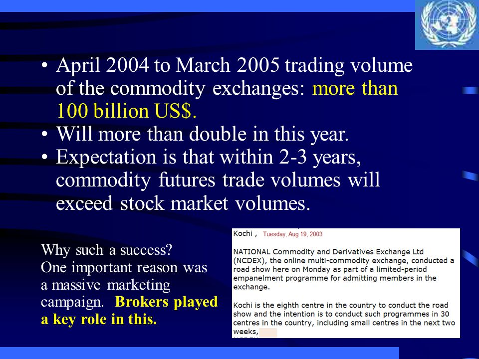 April 2004 to March 2005 trading volume of the commodity exchanges: more than 100 billion US$. Will more than double in this year. Expectation is that