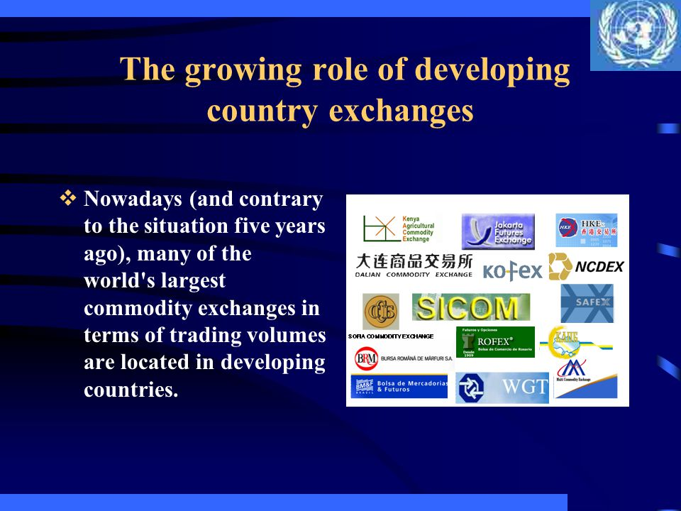 The growing role of developing country exchanges Most developing country exchanges, though, still operate with their hands tied behind their back: government policies now keep these exchanges essentially domestic; many of the exchanges are not allowed to introduce financial futures or even index futures (and this may well be where the largest growth potential is: worldwide, commodity futures account for less than a tenth of futures volume); and options are still not allowed in several countries.