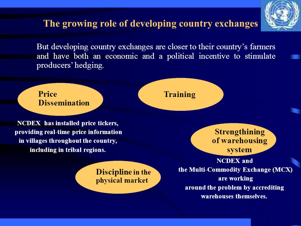The growing role of developing country exchanges But developing country exchanges are closer to their countrys farmers and have both an economic and a