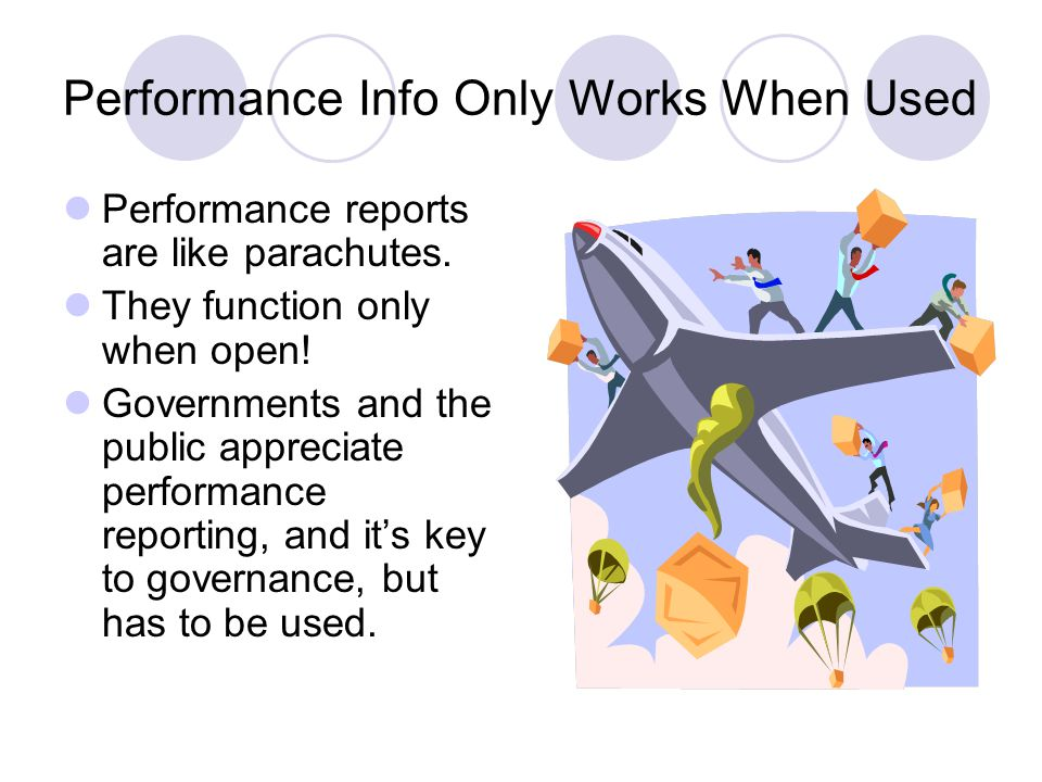 Performance Info Only Works When Used Performance reports are like parachutes.