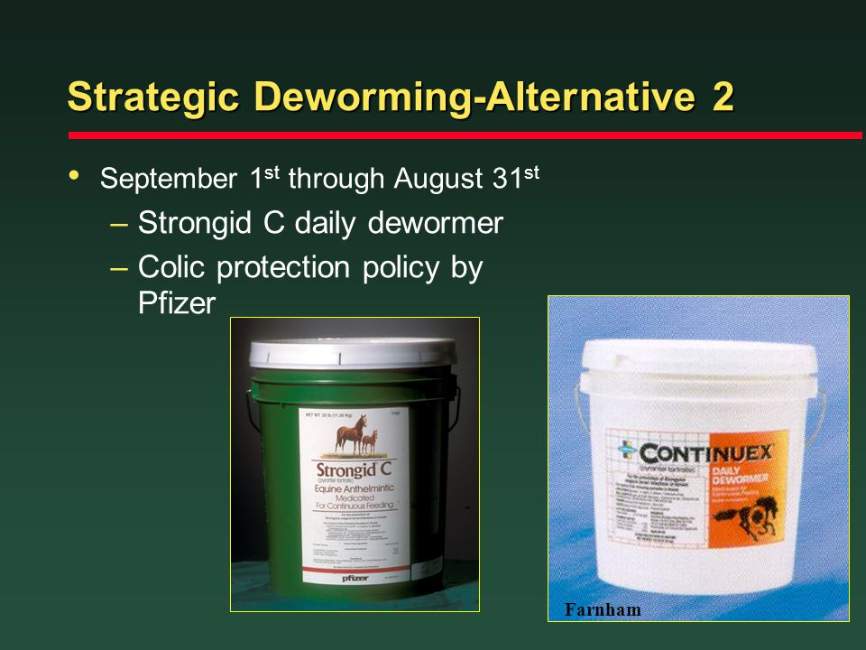 Strategic Deworming-Alternative 2 September 1 st through August 31 st –Strongid C daily dewormer –Colic protection policy by Pfizer Farnham